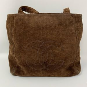 authentic Chanel Shoulder Bag Browns Suede Leather